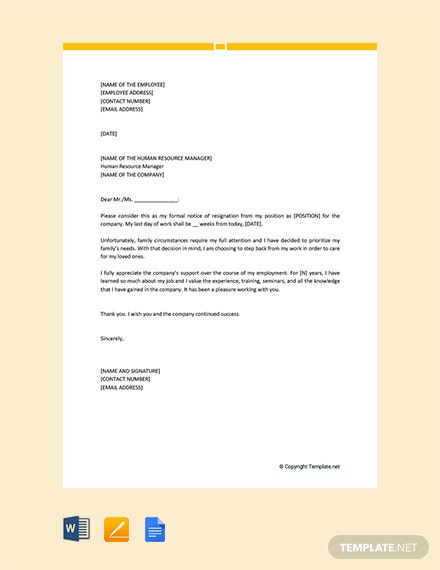 Free Resignation Letter due to Family Reasons
