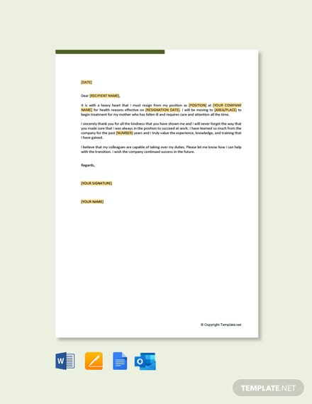 Free Resignation Letter Due to Family healthy Reasons