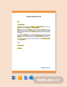 Free Academic Reference Letter Template