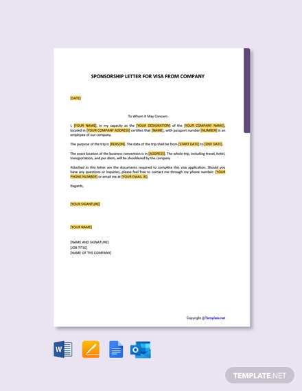 Free Sponsorship Letter for Visa from Company