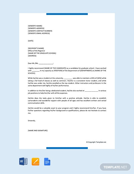 Free Letter of Recommendation for Graduate School