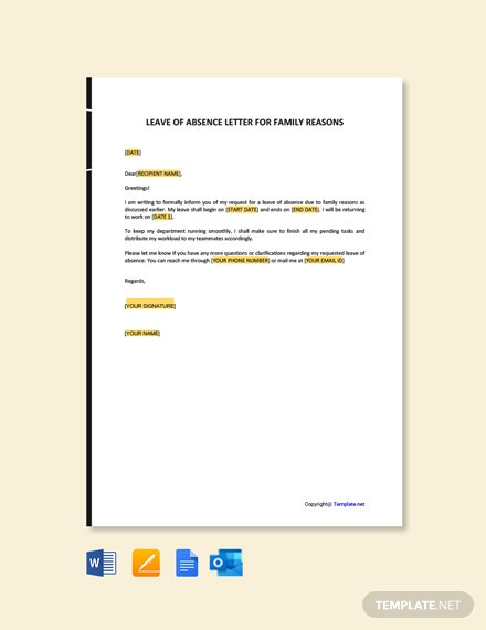 Free Leave of Absence Letter for Family Reasons