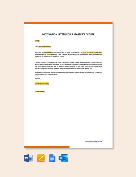 Motivation Letter for a Master's Degree