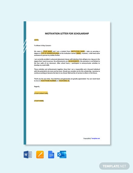 Motivation Letter for a Scholarship Template [Free PDF] - Google Docs, Word, Apple Pages