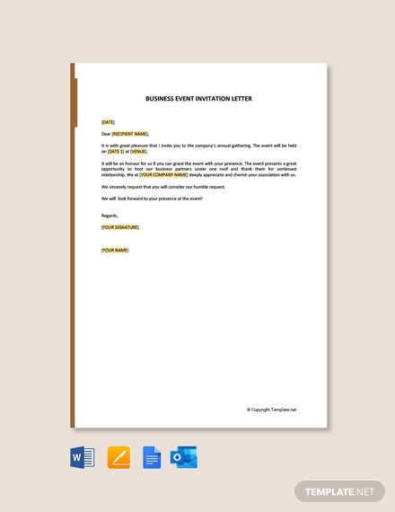 Free Business Invitation Letter for an event