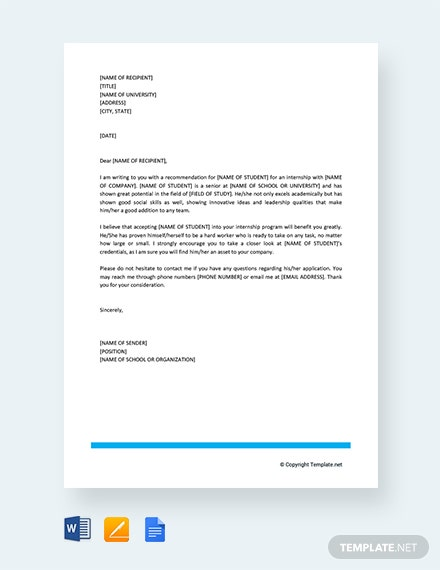 Free Letter of Recommendation for Student Intern