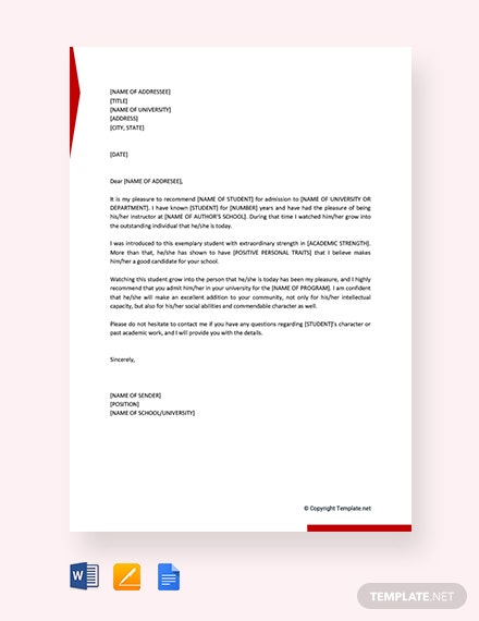 Free Recommendation Letter for Student From Teacher