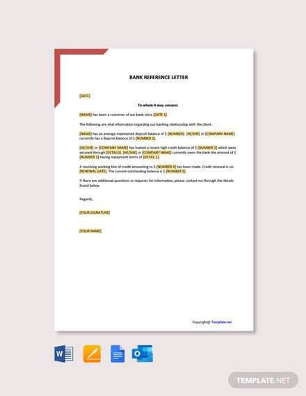 Bank Reference Letter Template [Free PDF] - Google Docs, Word