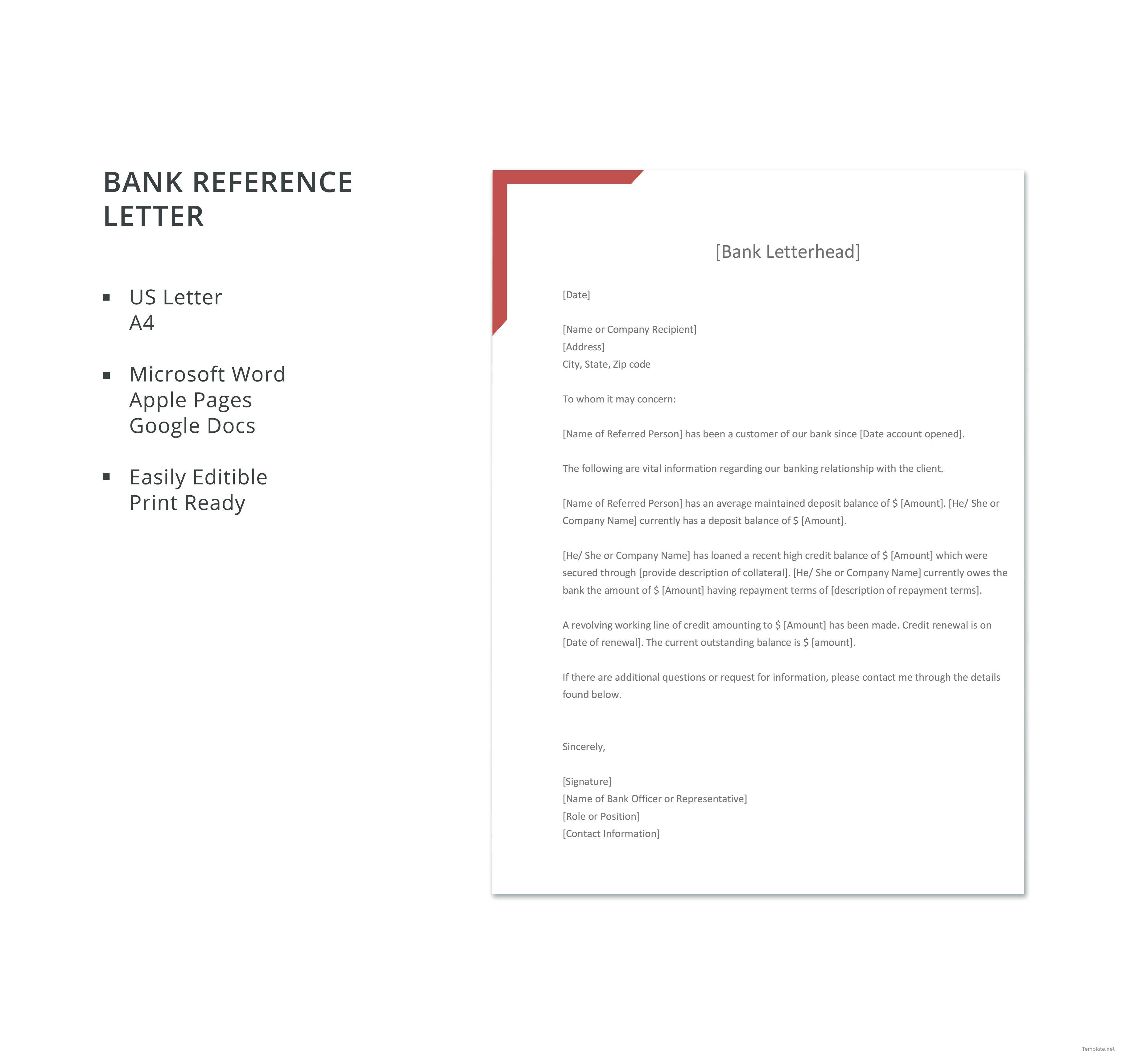 bank reference letter wording
