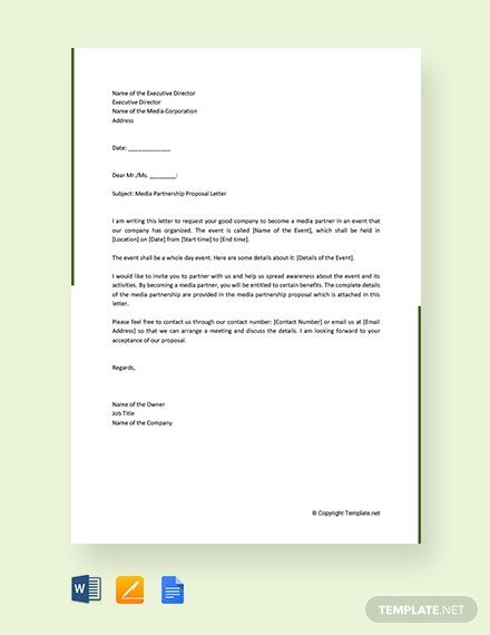 Free Media Partnership Proposal Letter