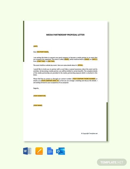 Media Partnership Proposal Letter Template [Free PDF] - Google Docs, Word, Outlook, Apple Pages