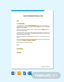 Free Event Partnership Proposal Letter Template