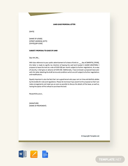free land lease proposal letter template  download 2538