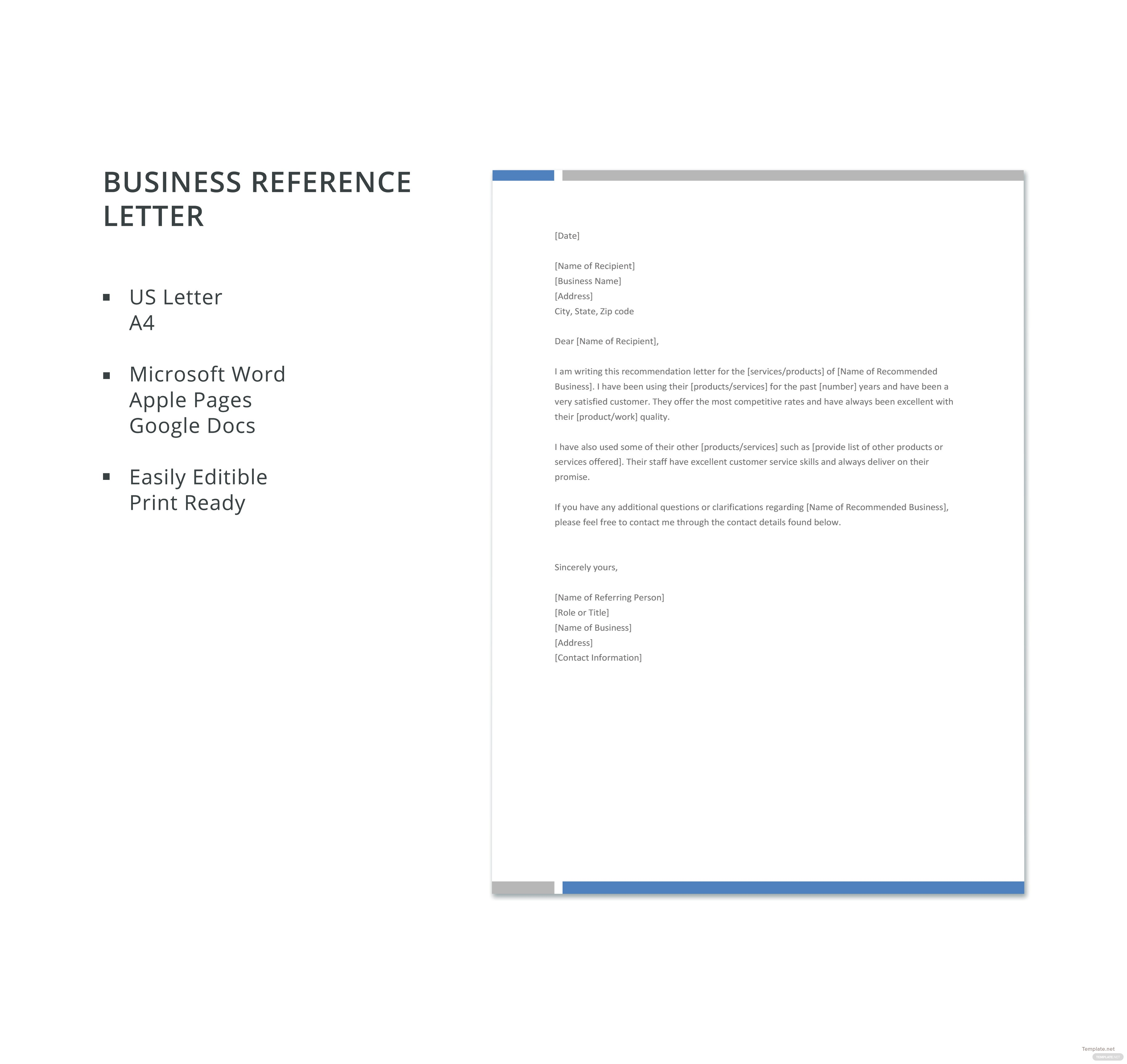 free business reference letter template in microsoft word apple pages google docs. Black Bedroom Furniture Sets. Home Design Ideas