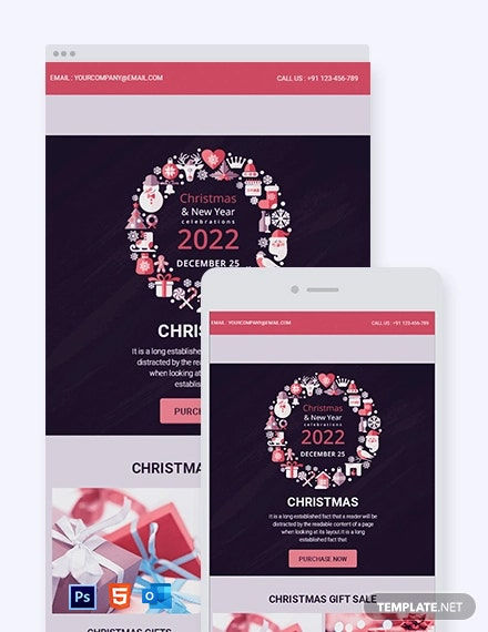 Free Modern Christmas Email Newsletter Template