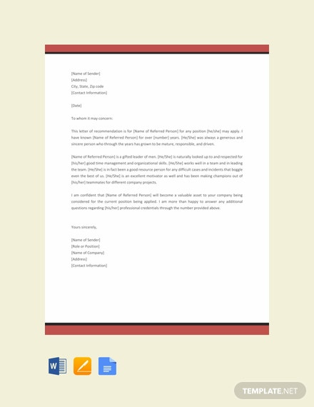 Free Character Reference Letter Template