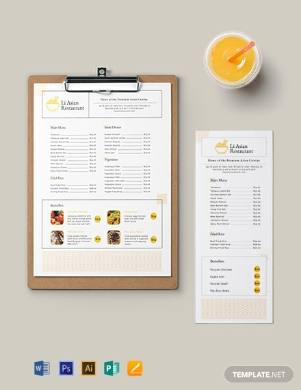 Asian Restaurant Menu Template