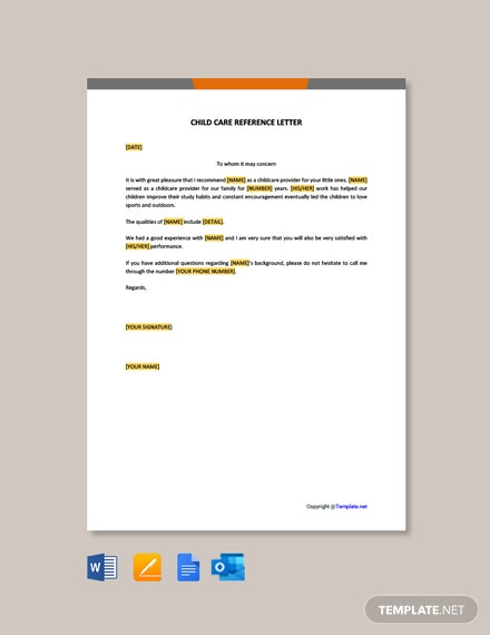 Free Child Care Reference Letter Template