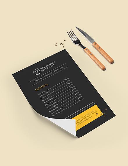 Chalkboard Asian Restaurant Menu Download