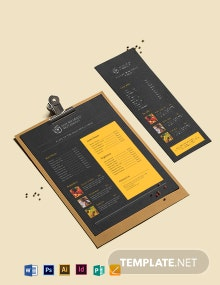Chalkboard Asian Restaurant Menu Template