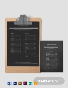 Simple Asian Restaurant Menu Template
