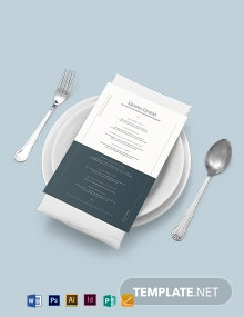 Elegant Baby Shower Menu Template