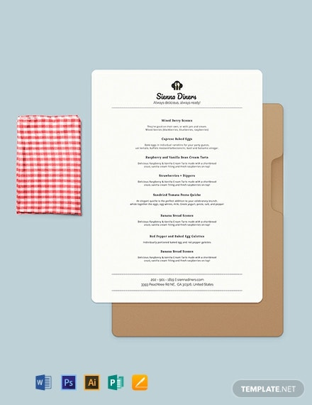 Simple Baby Shower Menu Template
