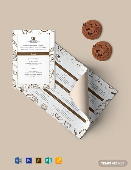 Designed Bakery Menu Template