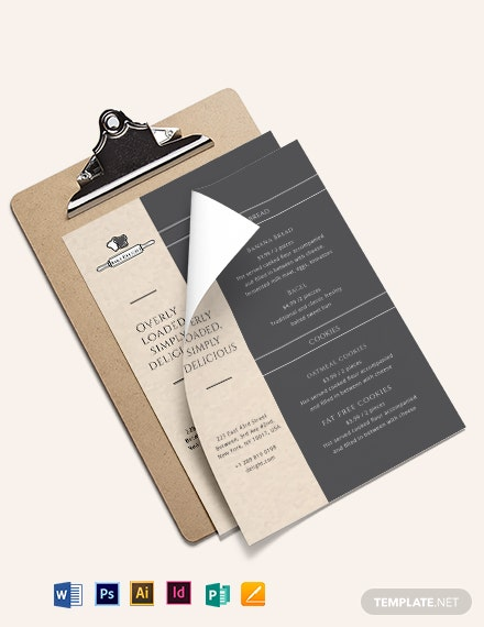 Elegant Bakery Menu Template