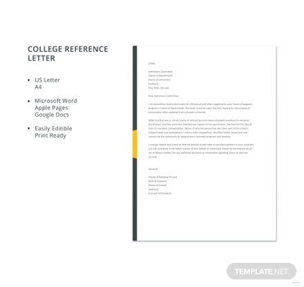 Free College Reference Letter Template
