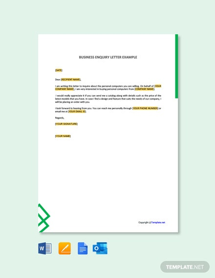 Business Enquiry Letter Example
