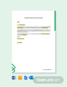 Free Business Inquiry Letter Example