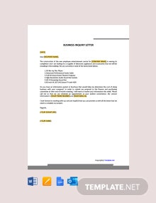Free Business Inquiry Letter