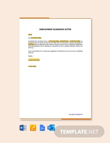 Free Employment Guarantee Letter