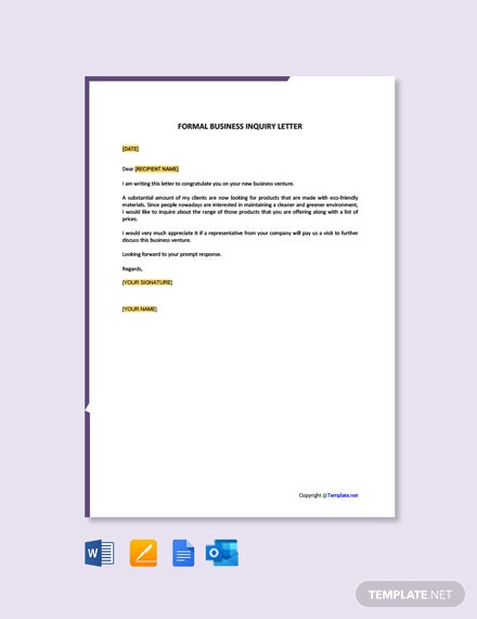 Free Formal Business Inquiry Letter