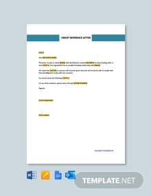 Free Credit Reference Letter Template
