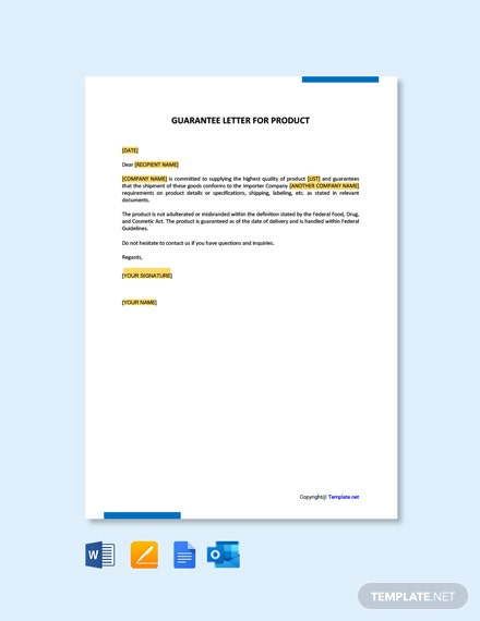 Free Guarantee Letter for Product