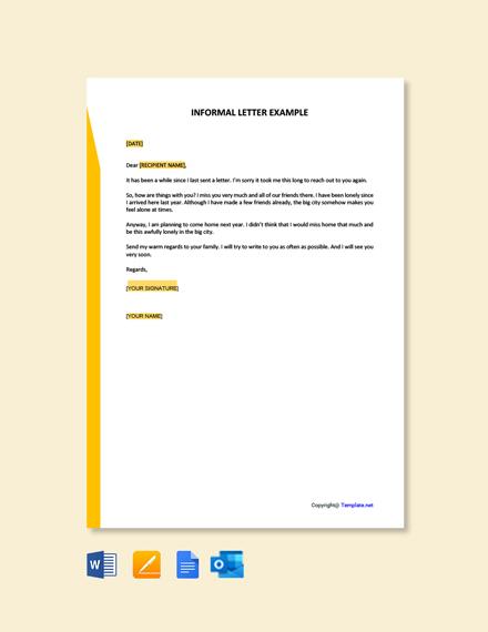 Free Informal Letter Example