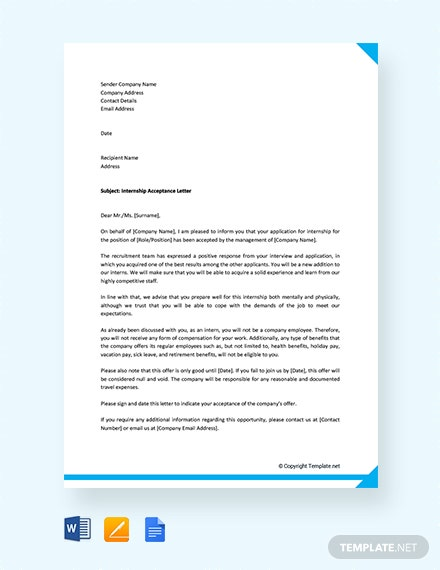 Free Internship Acceptance Letter