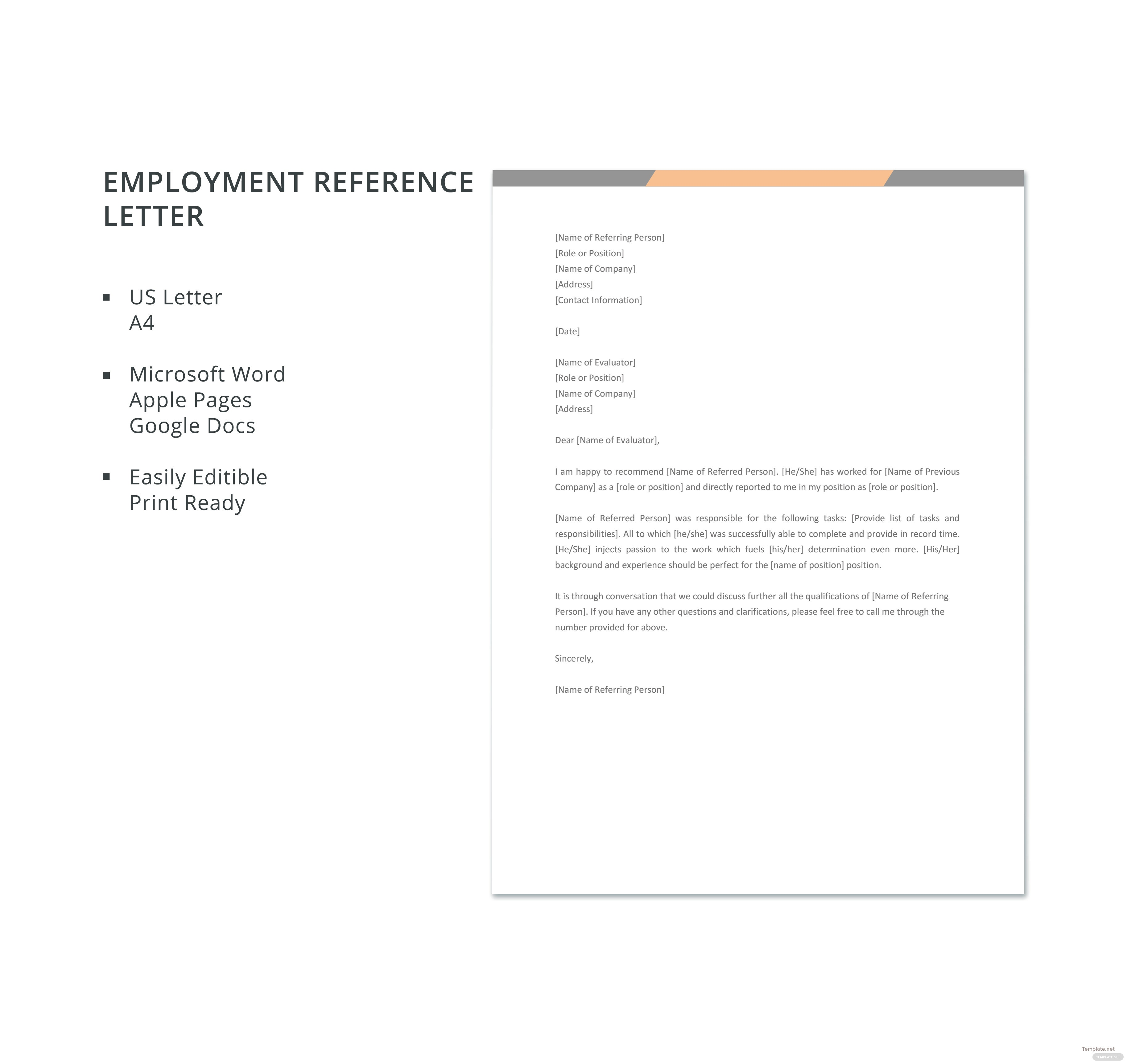 Free Employment Reference Letter Template in Microsoft Word, Apple ...