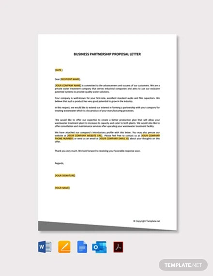 Business Partnership Proposal Letter Template