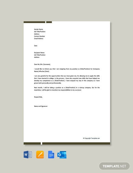 Free Formal Resignation Letter for Company