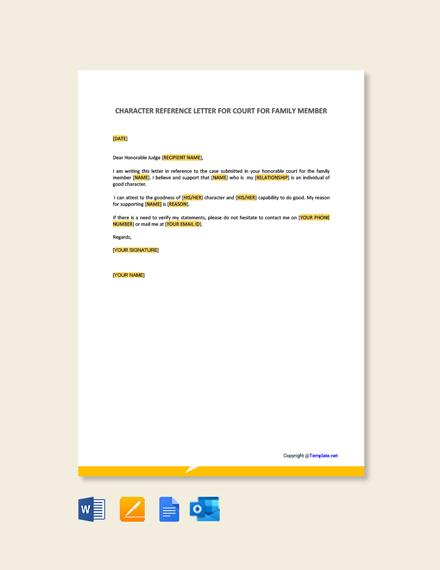Free Character Letter For Court for Family Member