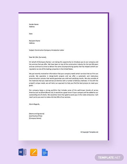 Free Construction Company Introduction Letter