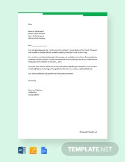 Free Formal Business Invitation Letter