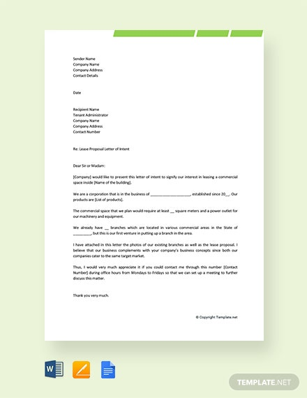 Free Lease Proposal Letter Template of Intent