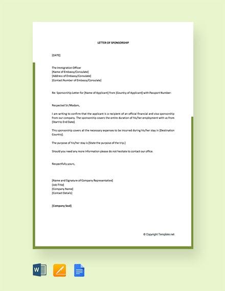 Free Visa Sponsorship Letter