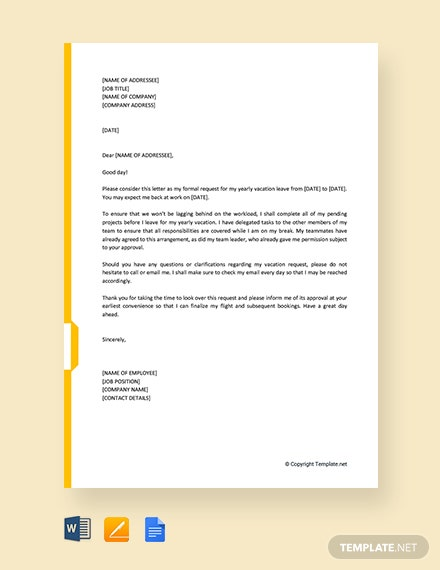 Free Yearly Vacation Request Letter