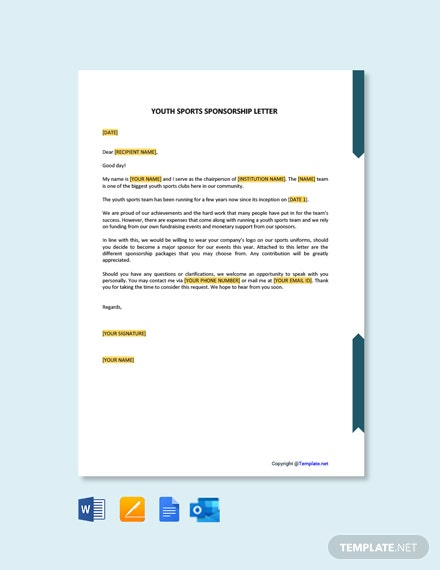 Free Youth Sports Sponsorship Letter