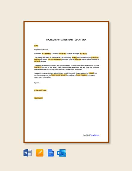 Free Sponsorship Letter for Student Visa